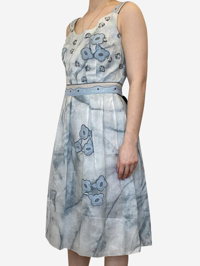 Blue sleeveless embroidered pleated dress - size IT 42