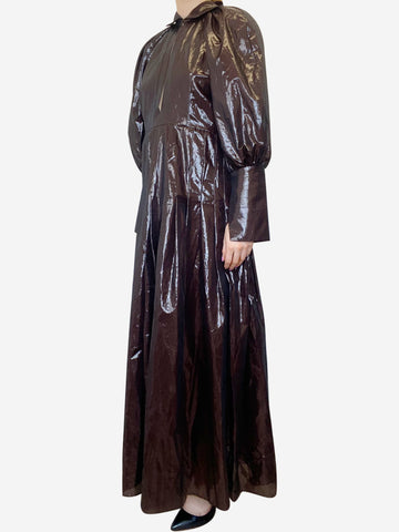 Brown sheer wet-look midi dress - size UK 8