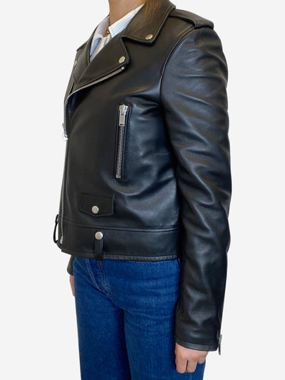 Black leather biker jacket - size FR 40