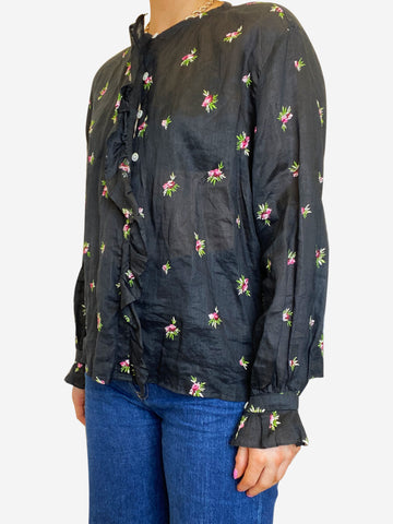 Black & pink floral ruffle blouse - size FR 36