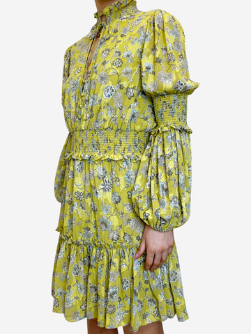 Yellow ruffle floral print mini dress - size M