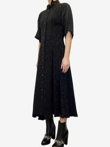 Black short sleeves asymmetric midi dress - size FR 34