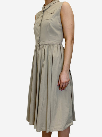 Neutral sleeveless pleated shirt dress - size IT 44