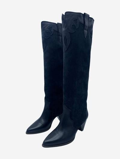 Litz black western knee high boots - size EU 41