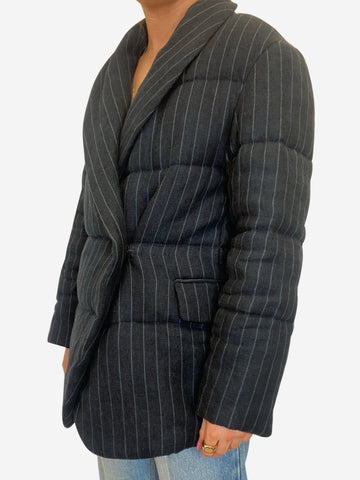 Jaron navy quilted striped jacket - size FR 36