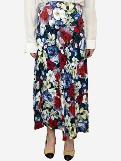 Multicoloured floral midi skirt - size UK 14