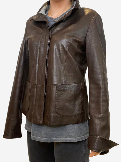 Brown button up leather jacket with suede elbow patches - size UK 12