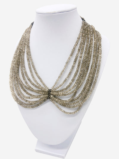 Taupe beaded multi layer necklace