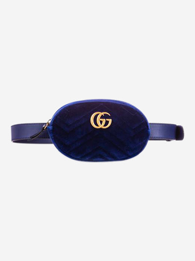 GG Marmont blue velvet belt bag