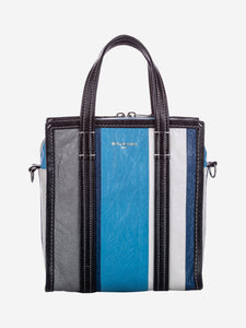 Balenciaga Blue, black and white XS Bazar leather cross body bag