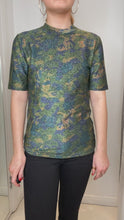Load and play video in Gallery viewer, Metallic camo printed stretch jersey t-shirt - size UK 10