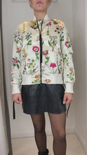 Load and play video in Gallery viewer, Cream and multi cream and multi floral bomber  jacket - size 10