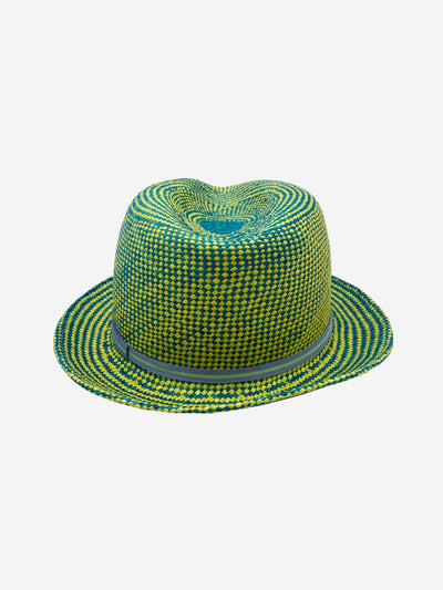 Bright yellow and blue straw hat - size S