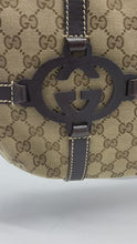 Load and play video in Gallery viewer, Beige GG monogram canvas shoulder bag