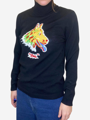 Black polo neck with dog motif - size M