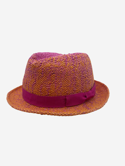 Orange and pink ombre straw hat - size S