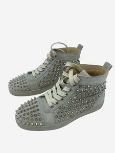 Christian Louboutin Grey studded high top trainers  - size EU 38