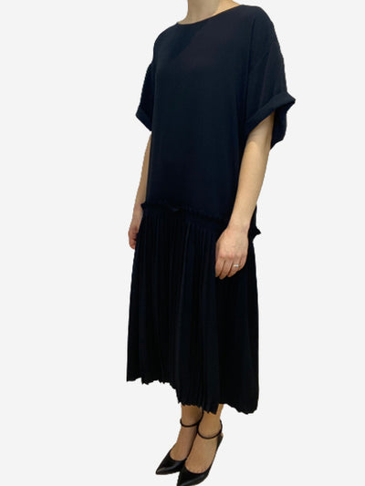 Black drop waist dress with pleated skirt- size UK 12