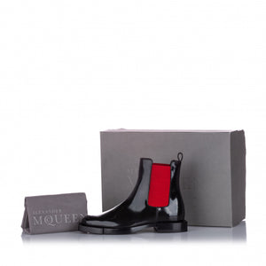 Alexander McQueen Black and red hybrid leather chelsea boot - size EU 36