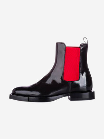 Black and red hybrid leather chelsea boot - size EU 36