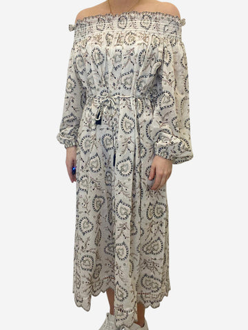 Cream paisley off the shoulder maxi dress - size S