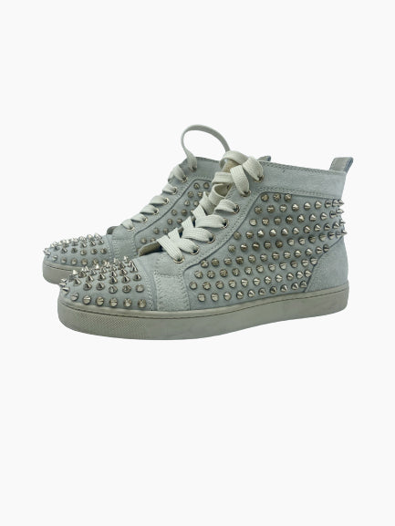 Grey studded high top trainers  - size EU 38