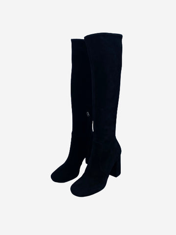 Black suede knee high heeled boots- size EU 39