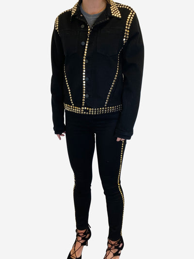 Black and gold studded denim jean and jacket set - size S