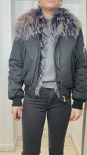 Load and play video in Gallery viewer, Navy bomber jacket with fur lining/collar - size UK 10