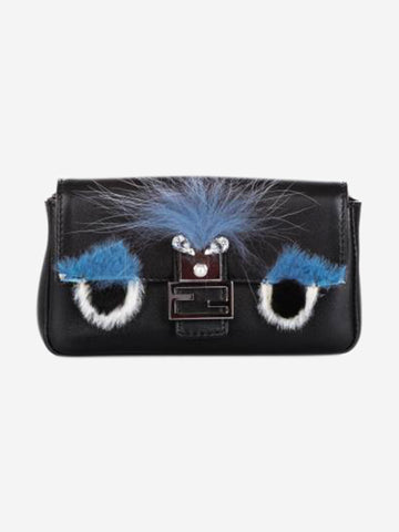 Black and blue micro monster baguette cross body bag