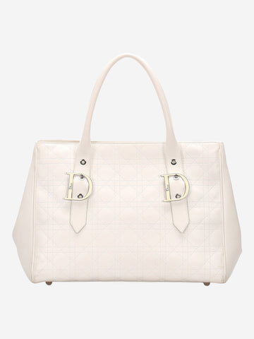White leather cannage leather tote bag
