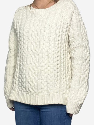 Cream cable knit wool jumper - size L
