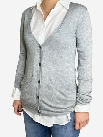 Long grey button up cardigan - size S