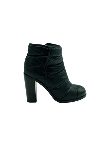Chanel Black Quilted Ankle Boots Size 4.5