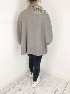 Fabiana Filippi Fabiana Filippi Grey And Leather Cape Size M RRP £416