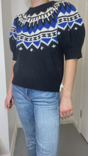 Load and play video in Gallery viewer, Blue and black fair isle puff sleeve sweater - size L