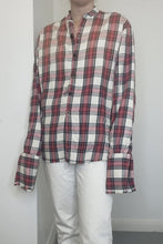 Load and play video in Gallery viewer, Distressed red and cream plaid button through shirt - size US 6
