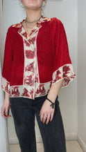 Load and play video in Gallery viewer, Red and beige silk button up blouse- size UK S