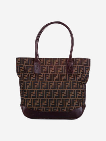 Zucca brown canvas and leather tote bag