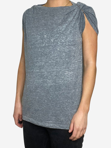 Grey t shirt with safety pin shoulder - size S