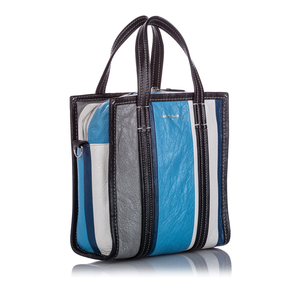 Blue, black and white XS Bazar leather cross body bag