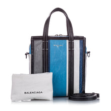 Load image into Gallery viewer, Blue, black and white XS Bazar leather cross body bag