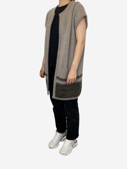 Grey mohair sleeveless cardigan - size S