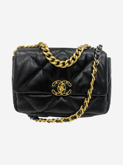 The Chanel 19 black leather quilted crossbody bag