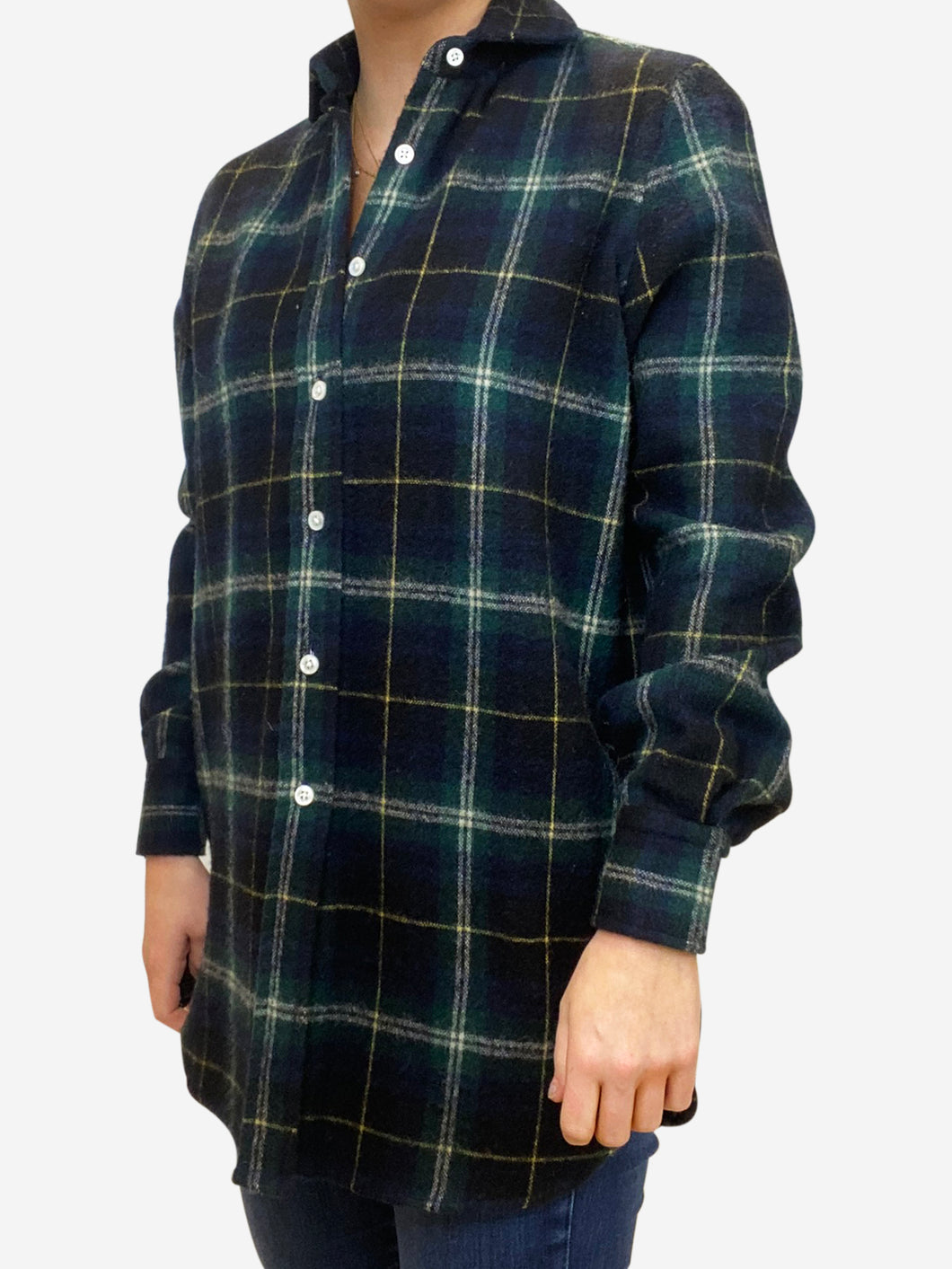 Navy & green plaid shirt - size IT 40