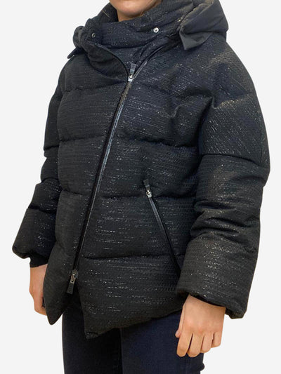 Black hooded long sleeve puffer - size IT 42