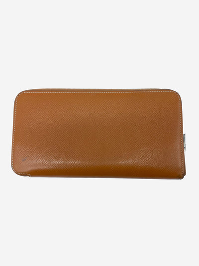 Tan long wallet with silk interior