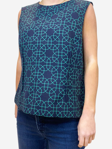 Navy vest top with zip back - size IT 46