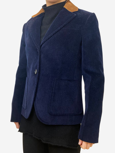 Navy Jacket with beige suede detail- size FR 40