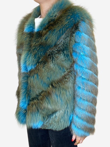 Blue & green fur coat - size UK 12